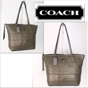 Coach Signature Metallic Olive/Pewter Stitched Bag